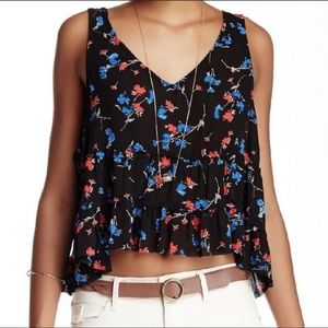Intimately Free People Floral Tiered Crop Tank Top